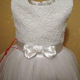 Белая роскошь для любого торжества. Нарядное детское платье.