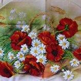Картина бисером - Маки в корзине