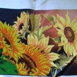 Картина бисером на шелке - Подсолнухи
