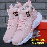 Зимние женские кроссовки ботинки Nike Huarache X Acronym City Winter Pink