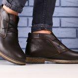 Ботинки Hilfiger мужские, натуральна кожа, зимние, темно - коричневые
