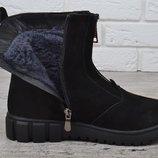 Ботинки женские зимние замша на овчине черные на молнии Украина