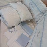 Choupette. Комплект постельный 6 предметов Акварель с голубой монограммой.Бренд.