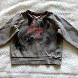 Теплый свитшот с кроликом H&M на девочку 2-4 лет