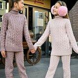 Теплый костюм на девочку,вязаный костюм,зимний костюм на девочку