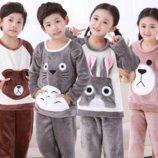 Зимние флисовые пижамы детские мальчик-девочка .