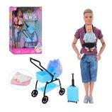 Кукла DEFA 8369 Кен 30см, шарнир, пупс, коляска, чемодан