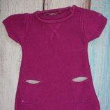 Стильная вязаная туника, вязание платье на девочку naf-naf 6-9 мес
