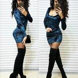 Вечернее платье мини Мраморный бархат разные цвета с вырезом декольте от р40 по р46 длинный рукав