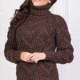 Теплый вязаный шерстяной свитер с узорами скл.1 арт.47094