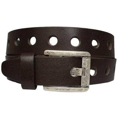 Ideal2 коричневый кожаный мужской ремень с перфорацией в подарочной коробке кожанный пояс кожа