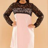 Шикарное платье трапеция с кружевным рукавом хл размеры 50-56 скл.1 арт.47127
