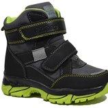 Сноубутсы CLIBEE арт.H-165 apple green, черный Зимние ботинки для мальчиков.