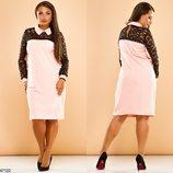 Шикарное платье трапеция с гипюровым рукавом и воротничком хл размеры 50-56 скл.1 арт.47122