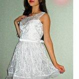 Шикарное белое кружевное платье, размер 46-48