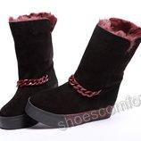 Женские зимние сапоги сапожки угги на платформе натуральная замша черные с бордовым