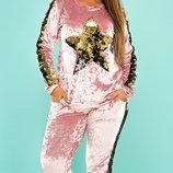 Бархатный спортивный костюм с паетками хл размеры 50-56 скл.1 арт.47110
