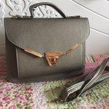 Сумка клатч чемоданчик небольшая серая бронзового цвета