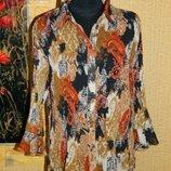 Блуза женская гофра черная с коричневым и бежевым размер 48-50 Cato