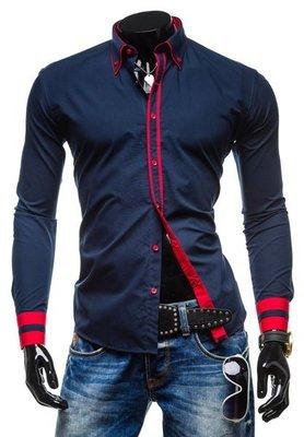 Рубашка мужская темно-синяя код 77