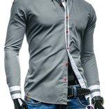 Рубашка мужская серая код 77