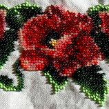 Пояс вышивка бисером маки красные вышит бисером 50х10 см ручная работа