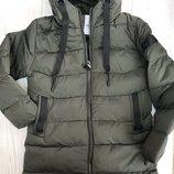 Зимняя курточка, пальто для мальчика подростка хаки -40% скидка