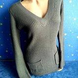 Тёплый вязаный удлинённый свитер кофта цвет графит м/л atmosphere арт.89