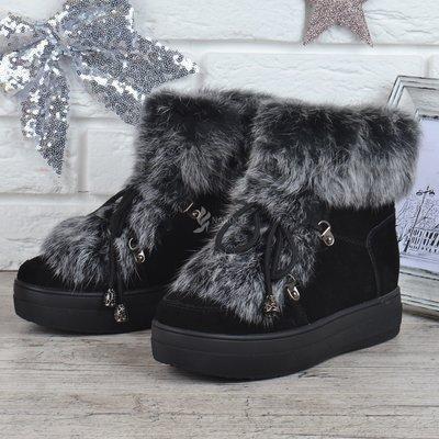 100% натуральные Ботинки замшевые на овчине на платформе женские зимние Rosso опушка кролик