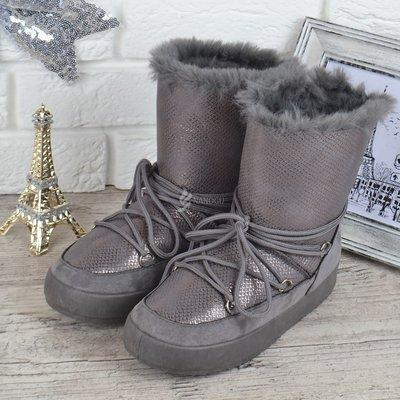 Дутики женские зимние сапоги унты The only one серые серебро на шнуровке
