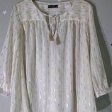 Нарядная свободная прямая белая блуза с золотом, длинный рукав