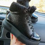 Новинка теплющие натуральные кожаные зимние ботинки кеды 36,37,38,39,40
