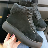 Высокое качество Теплющие натуральные замшевые демисезонные и зимние ботинки кеды 36,37,38,39,40