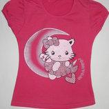 Розовая футболка Funny Cat на девочку 8 лет. Рост 128 см.