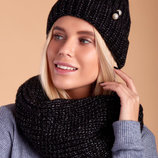 Стильный женский вязаный комплект шапка шарф-восьмёрка 177 Жемчуг в расцветках.