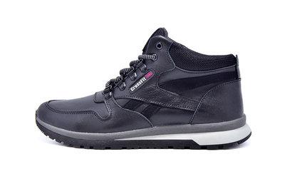 Зимние мужские кожаные кроссовкиCrossFit Black