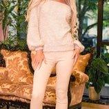 Костюм женский теплая вязаная кофта и брюки джинс скл.1 арт.47073