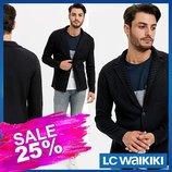 Синий мужской пиджак LC Waikiki / Лс Вайкики с фактурным рисунком, на пуговицах