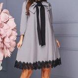 Нарядное платье трапеция ткань плательный креп с кружевом размеры 42-46 скл.147174