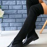 Женские зимние сапоги-ботфорты из натуральной кожи, ks-4070w