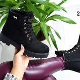 Женские ботинки сапоги зимние евро зима под Timberland тимберленды черные
