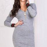 Теплое вязаное шерстяное повседневное платье Турция скл.1 арт46880