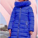 Супер пальто Кина-2 с натуральным мехом песца, Размеры 110- 134 Nui Very