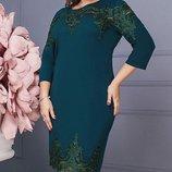 Шикарное платье креп-дайвинг с итальянским кружевом хл размеры 50-56 скл.1 арт. 47172