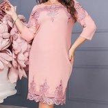 Шикарное платье креп-дайвинг с итальянским кружевом хл размеры 50-56 скл.1 арт. 47171