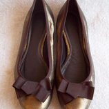 Балетки золотистые Zara, стелька 26 см.