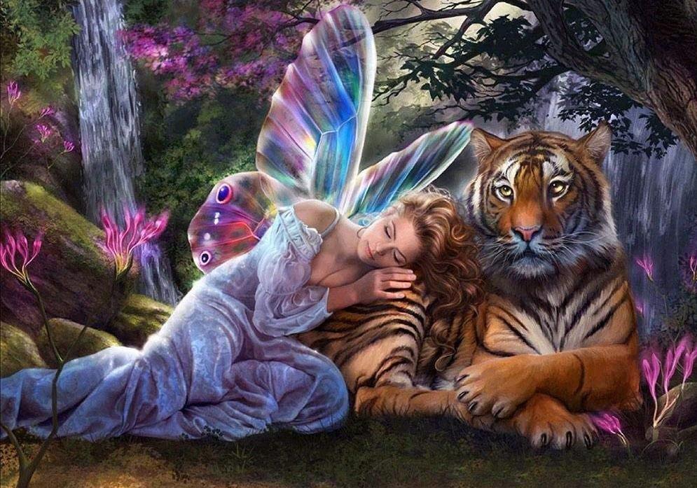 Картинки девочка и тигр