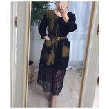 Платье теплое с шерстью и кружевом Stella Milani Италия люкс L/XL/XXL узор горчица
