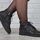 SALE Ботинки глиттер Modno женские весна-осень черные прошитые гибкая подошва
