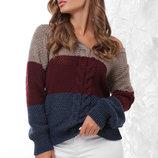 Теплый вязаный свитер джемпер узор косы мод. 155 скл.2